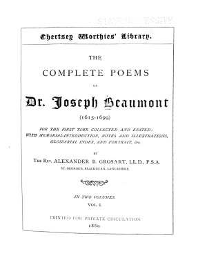 The Complete Poems of Dr  Joseph Beaumont  1615 1699   Memorial introduction  Psyche  cantos I XL PDF
