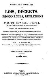 Collection complète des lois, décrets d'intérêe général, traités internationaux, arrêtés, circulaires, instructions, etc: Volume49