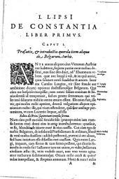 Iusti LipsI De constantia libri duo: qui alloquium praecipuè continent in publicis malis