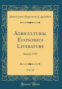 Agricultural Economics Literature  Vol  16 PDF