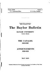 Annual Catalogue of Baylor University at Waco, Texas
