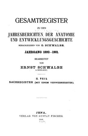 Jahresberichte   ber die Fortschritte der Anatomie und Entwicklungsgeschichte PDF