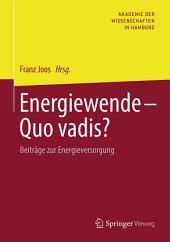 Energiewende - Quo vadis?: Beiträge zur Energieversorgung