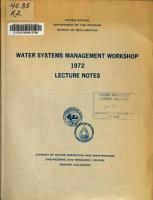 Water Systems Management Workshop  1972 PDF