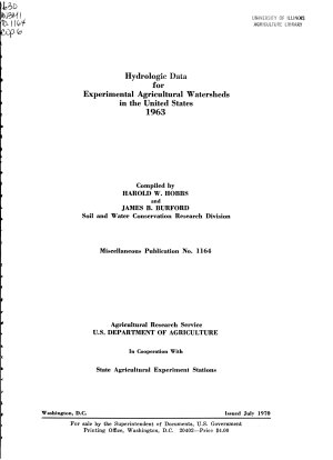 Hydrologic Data for Experimental Agricultural Watersheds in the United States  1963 PDF