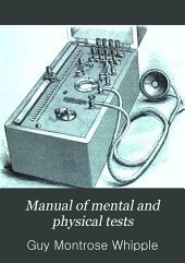 Manual of Mental and Physical Tests: A Book of Directions Compiled with Special Reference to the Experimental Study of School Children in the Laboratory Or Classroom, Part 2