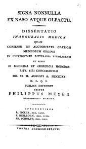 Signa nonnulla ex naso atque olfactu: Auctor Philippus Meyer