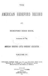 American Hereford Record and Hereford Herd Book: 第 4 卷