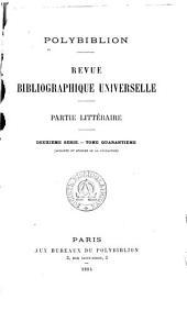 Polybiblion: Revue bibliographique universelle, Volume71