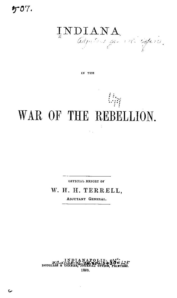 Indiana in the War of the Rebellion
