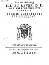In cardinalatum Mariani Perbenedicti Camertis carmen. - Romae, Paulus Diani 1589
