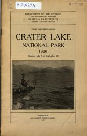 Rules and Regulations, Crater Lake National Park