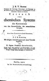 Versuch eines chemischen Systems der Kenntnisse von den Bestandteilen des menschlichen Körpers