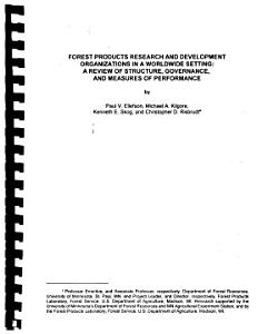 Forest Products Research and Development Organizations in a Worldwide Setting