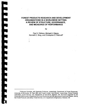 Forest Products Research and Development Organizations in a Worldwide Setting PDF