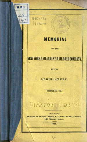 Memorial of the New York and Albany Railroad Company to the Legislature