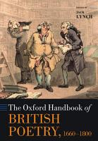 The Oxford Handbook of British Poetry  1660 1800 PDF