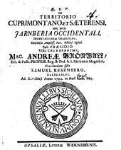 De territorio Cuprimontano et Saeterensi, nec non Jarnberia occidentali, dissertationem gradualem