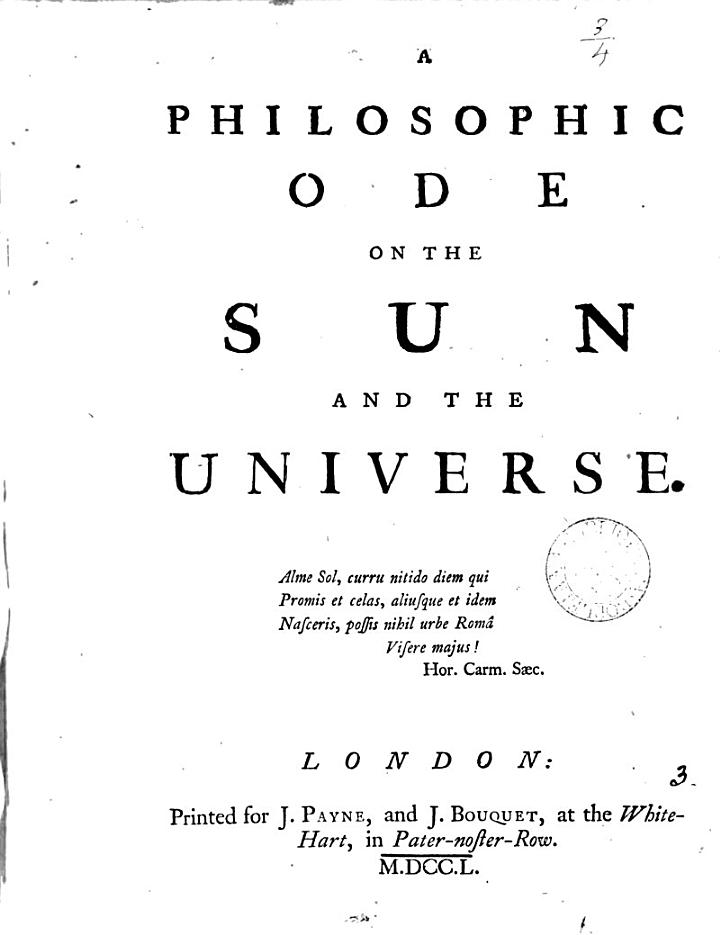 A Philosophic Ode on the Sun and the Universe