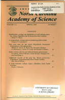 Journal of the North Carolina Academy of Science