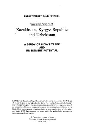 Kazakhstan  Kyrgyz Republic  and Uzbekistan PDF
