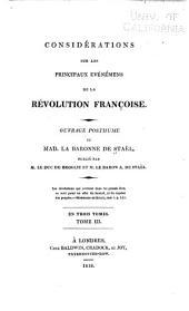 Considérations sur les principaux evénémens de la Révolution françoise: ouvrage posthume, Volume3