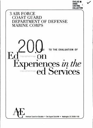 A Guide to the Evaluation of Educational Experiences in the Armed Services PDF