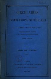Circulaires et instructions officielles relatives à l'instruction publique