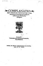 Complanationis Jeremiae prophetae foetura prima cum apologia quur quidque sic versum sit