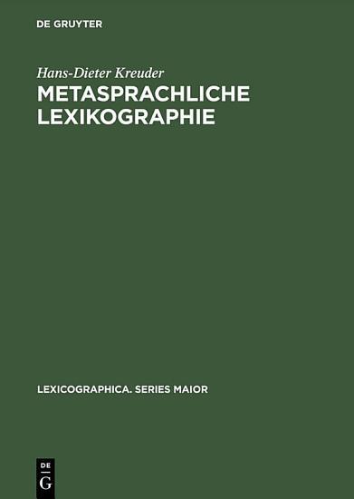 Metasprachliche Lexikographie PDF