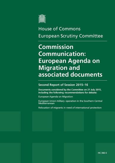 HC 342 ii  Commission Communication  European Agenda on Migration and associated documents PDF