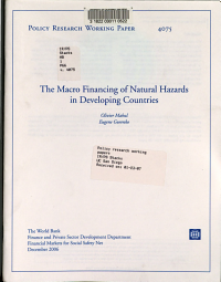 The Macro Financing of Natural Hazards in Developing Countries PDF