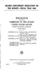 Second Concurrent Resolution on the Budget--fiscal Year 1982