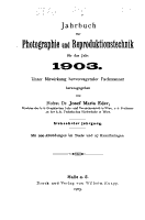 Jahrbuch f  r Photographie  Kinematographie und Reproduktionsverfahren PDF