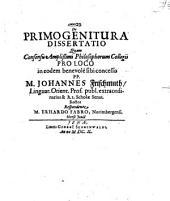 De Primogenitura Dissertatio