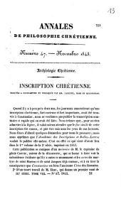Archéologie chrétienne. Inscription chrétienne trouvée à Constantine et expliquée par MM. Carette, Hase et Quatremère