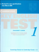 Cambridge Key English Test 1 Self Study Teachers New Edition