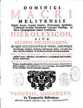 Hierolexicon, sive sacrum dictionarium in quo ecclesiasticae voces...