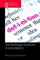 The Routledge Handbook of Lexicography PDF