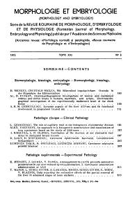 Morphologie Et Embryologie