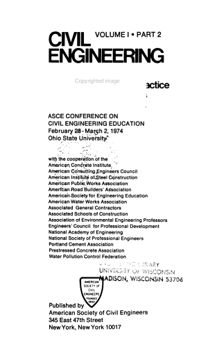 Civil Engineering Education Related to Engineering Practice and to the Nations Needs PDF