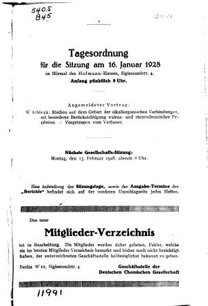 Berichte der Deutschen Chemischen Gesellschaft  etc   PDF