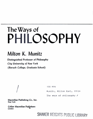 The ways of philosophy