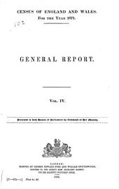 Census of England and Wales, 1871: (33 & 34 Vict. C. 107.) ...