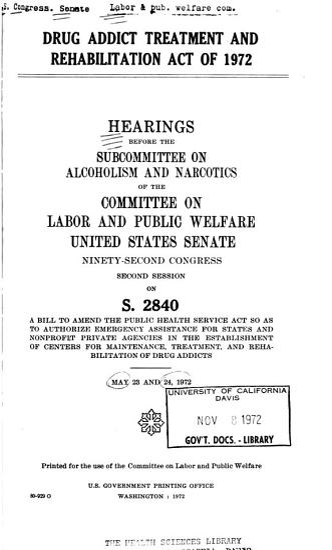 Drug Addict Treatment and Rehabilitation Act of 1972 PDF