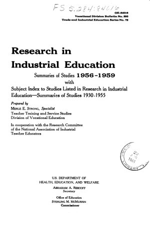Research in Industrial Education  Summaries of Studies  1956 1959