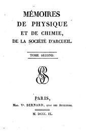 Mémoires de physique et de chimie de la Société d'Arcueil: Volume2