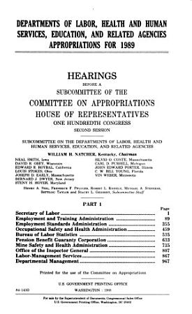 Departments of Labor  Health and Human Services  Education  and related agencies appropriations for 1989 PDF