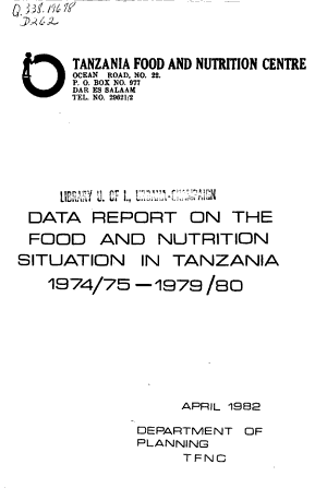 Data Report on the Food and Nutrition Situation in Tanzania  1974 75 1979 80 PDF