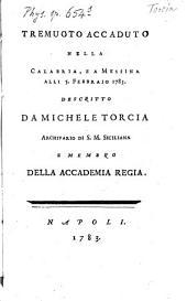 Tremuoto accaduto nella Calabria, e a Messina alli 5. Febbrajo 1783